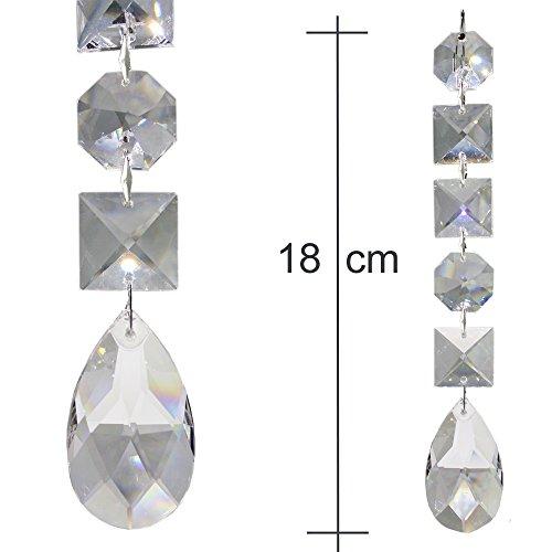 2x Kristall Baumschmuck Ketten 180mm lang zum aufhängen als Christbaumschmuck oder Deko für den Weihnachtsbaum und Tannengrün, Regenbogen Kristallwachtel mit 30% Bleikristall Hoch Brillant - Typ D