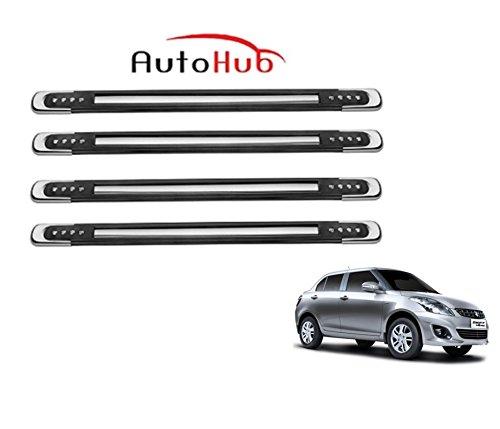 Auto Hub Rubber With Chrome Finish Car Bumper Guard Protector For Maruti Suzuki Swift Dzire New - Black  available at amazon for Rs.449