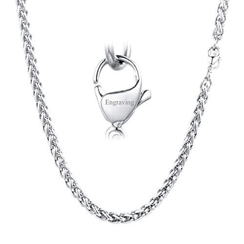 FaithHeart Personalisiert Silberfarbe Vollweizenkette Edelstahl Herren Halskette mit Karabinerverschluss-6mm Breit 60cm Lang -