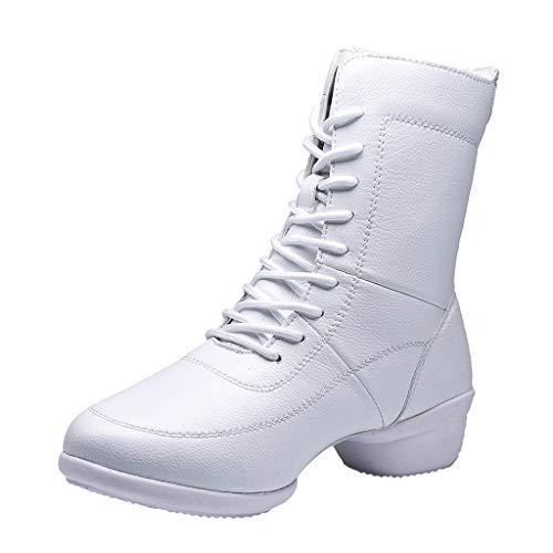 Zegeey Damen Stiefel Mode Halbschaft Stiefel SchnüRstiefel Herbst Winter Casual Boots Schwarz Rot Weiß(Weiß,41EU)