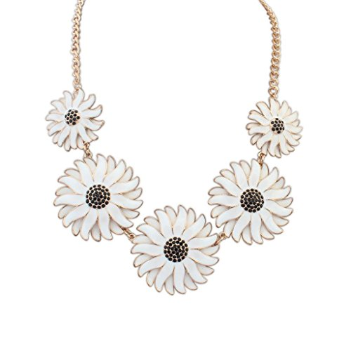 fashion exaggerated personality Daisy necklace, Europe Sweet Flowers Collarbone Chain accessories Blanc