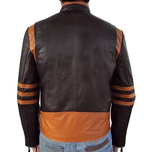 Wencaimd Motorrad Schutzausrüstung Wasserdicht und Winddicht pu Lederjacke persönlichkeit Motorrad Motorradjacke für männer (Farbe: braun) zum Motorrad Roller Autocycle (Size : 5XL)