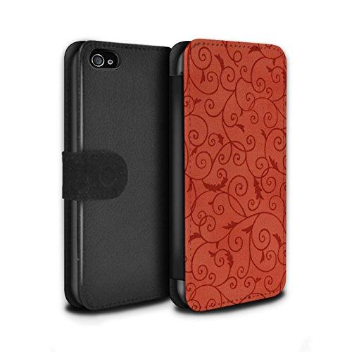Stuff4 Coque/Etui/Housse Cuir PU Case/Cover pour Apple iPhone 4/4S / Orange Design / Motif de la vigne Collection Rouge