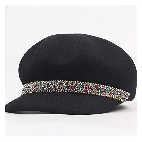 Lin Feng Xin Mu Cai Wintermütze Trendy Wolle Frauen Filz Fedoras Hüte Dame Reitsport Barett Hut Mütze Strass Achteckige Caps (Farbe : Schwarz, Größe : 56-58CM)