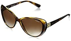 Vogue Womens Plastic Woman Oval Sunglasses, Dark Havana, 57 mm