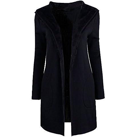Mujer Clasico Solapa Trenca Abrigo de Manga Larga Chaqueta con Capucha