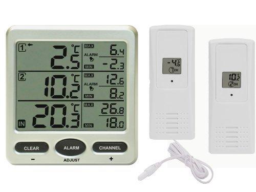 Funk Thermometer Froggit FT0075 mit 2 AussensensorenLCD Display Min/max Kabelsonde Kühschrank