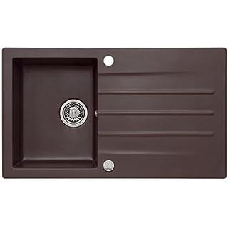 AXIS KITCHEN Mojito 100 Küchenspüle Farbe Axis Dark Chocolate Braun Material Axigranit 50er Unterschrank Spülbecken Siphon, Exzenterbedienung, Ausschnittschablone