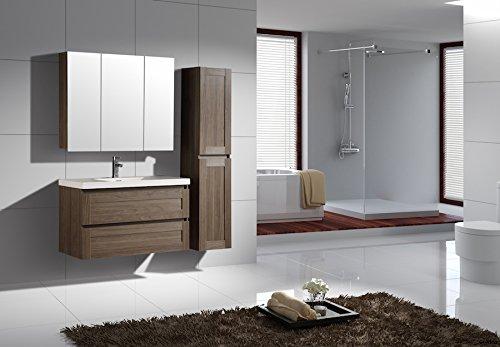 Jindoli Ensemble Complet de Meubles de Salle de Bain 100 cm Marron avec 1 Meuble Vasque 2 tiroirs + Un Meuble Haut Armoire de Toilette Miroir 3 Portes et Une Colonne 2 Portes réversible.