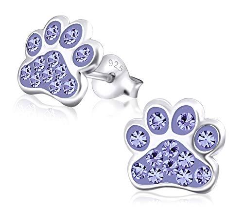 Laimons Mädchen Kids Kinder-Ohrstecker Ohrringe Kinderschmuck Hundepfote Pfote Pfötchen Tatzen mit Glitzer in hell lila Blau violet 9mm aus Sterling Silber 925