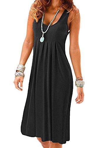 UR Angel Women Summer Sleeveless Pleated Loose Party Eveing Pocket Swing Dresses