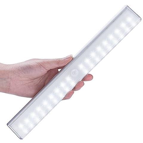 LOFTER Lampe Armoire 36 LEDs Rechargeable, Lampe Detecteur de Mouvement Automatique Sans-fil, 4 modes d'éclairage, Veilleuse Enfant Placard Garage Titoir Escalier meuble Penderie Cusine Commode Buffet Salle de Bain Sortie Toilette (Blanc