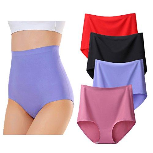 KissLace Damen Slip Unsichtbare Nahtlose Hohe Taille Unterhose Hipsters 4er Pack 4er Pack B 4XL=EU54/56
