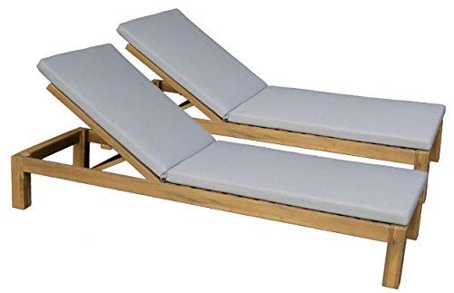 Baltico 2er Set Sonnenliege Gartenliege Lounger Relaxliege Akazie mit Auflage Hellgrau