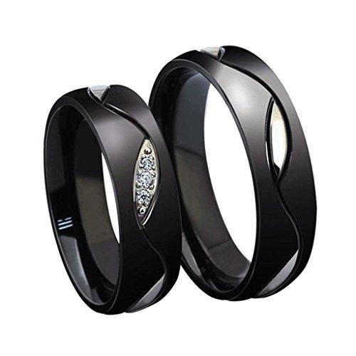 Edelstahlring Paare (Damen Herren) Ringe Schwarz Silber Diamant Verlobungsring Hochzeit Ringe Größe 60 (19.1) - Adisaer (Ungewöhnliche Paare Kostüme)