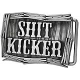 Novelty S**T Kicker Metal Belt Buckle Funny Joke Brushed Silver Cowboy Rodeo