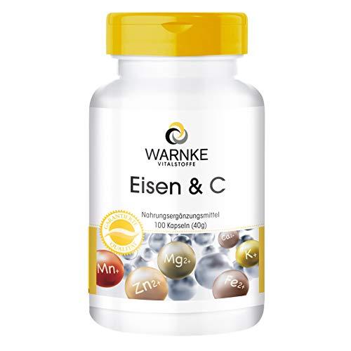 Hierro + Vitamina C - 100 cápsulas - 14mg de Hierro - Con B12 y Biotina - Con Vitamina C...