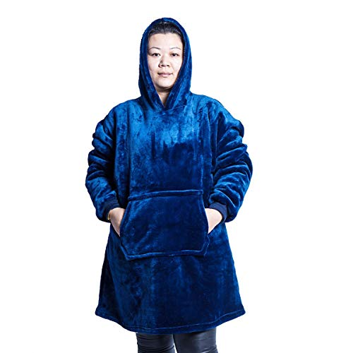 Huggle Hoodie Ultra Plush Blanket Flannel Hoodie Soft Warm, One Size Fit All,Men Women Winter Warm Coats
