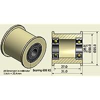 Pack de 4 x Cinturón de nylon 35 mm de diámetro 27 mm Groove 8 mm rodamientos Precisely mecanizado en la UE (35-27-8)