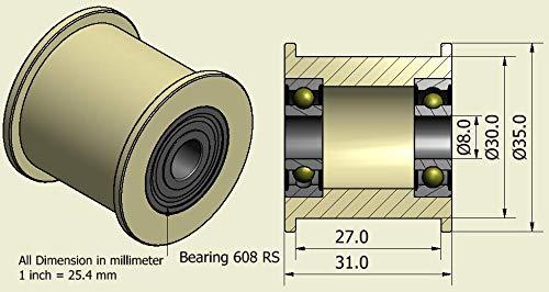 4Stück x Nylon Gürtel Faulenzer 35mm Durchmesser 27mm Groove 8mm Lager Präzise gefräßt in der EU (35–27–8)