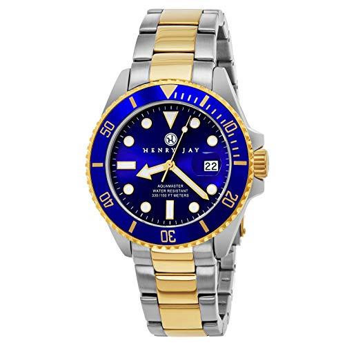 Henry Jay para hombre 23 K chapados en oro de dos tonos de acero inoxidable Specialty Aquamaster 'Professional Reloj de Buceo