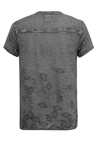 Urban Surface Herren T-Shirt im Vintage Look | Leichtes Print Shirt melieriert mit Knopfleiste Light-Grey