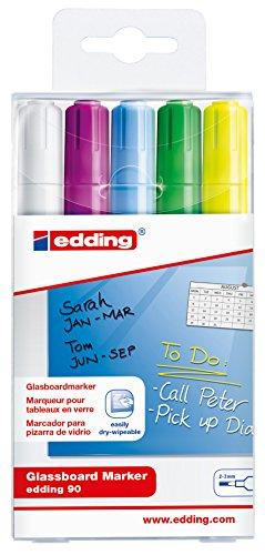 Board Sortierung (edding 90 Glassboard Marker - Sortierung 099 - 5er Set - Zum Beschriften von Glasbaords und den meisten Glas-Oberflächen)