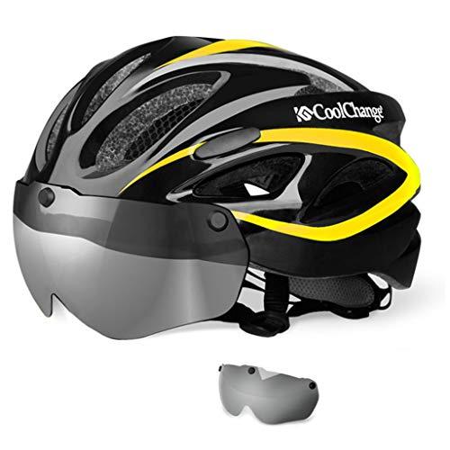 WERT Fahrradhelm Mit Sonnenbrille Integral Männer Frauen Geformt Mountain Road Bike Schutzbrille Helm 57-62 cm, Yellow