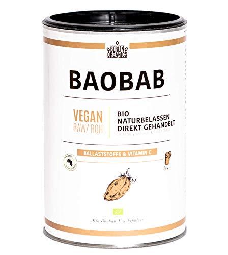 Bio Baobab Pulver Berlin Organics - vom Affenbrotbaum - Vitamin C - Ballaststoffe - 100% Bio, Roh, Vegan - Wildsammlung -