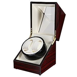 SONGMICS Luxus Uhrenbeweger für 2 Automatikuhren leiser Uhrendreher in Hochglanz Klavierlack JWW01RD