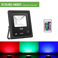 LE 10W RGB Flood Light, UK Plug, 16 Colours and 4 Modes, Dimmable LED Garden Light with Remote Control, Color Changing Outdoor Lighting, Waterproof Security Light from Lighting EVER