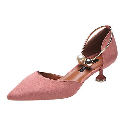 Ferse Damen Süße Schuhe (Julywe Schuhe Damen Rosa Spitzenwurzel-High Heels Elegante Damensandalen Damen Bisiness Schuhe Formelle Gelegenheitsschuhe Women Ferse Slingback Kitten Heel Süße Königinschuhe Prinzessin Schuhe)