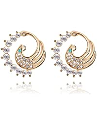 [Sponsored]NEVI Peacock Animal Fashion Czech Crystals Champaign Gold Plated Stud Earrings Jewellery For Women And Girls