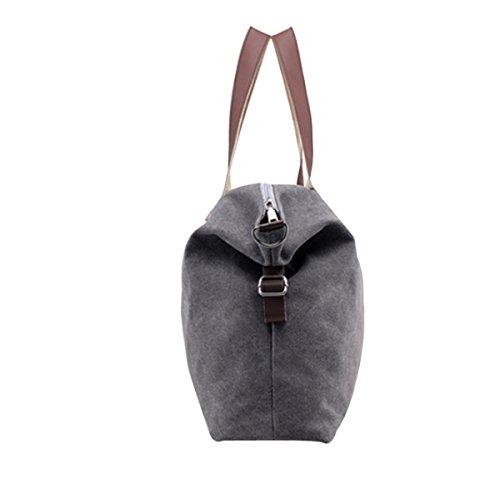 Frauen Casual Leinwand-Tasche Schultertasche Reisetasche Grey