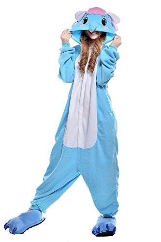Elefanten Kostüm Ballett - URVIP Jumpsuit Tier Cartoon Fasching Halloween Kostüm Sleepsuit Cosplay Fleece-Overall Pyjama Erwachsene Unisex Schlafanzug Tier Onesie mit Kapuze Blau Elefant-02 Small