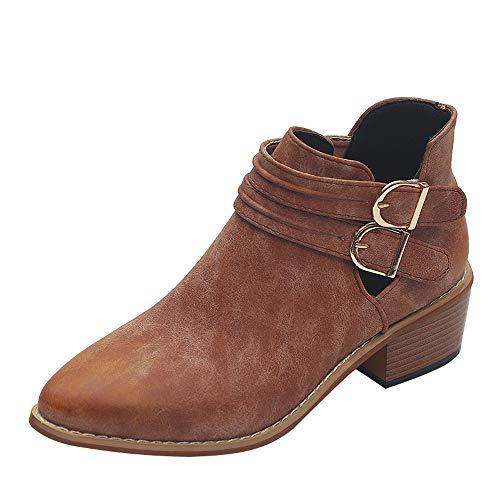 Stiefeletten Damen,Elecenty Frauen Kurzschaft Stiefel Mode Boots Beiläufig mit Blockabsatz Flandell...
