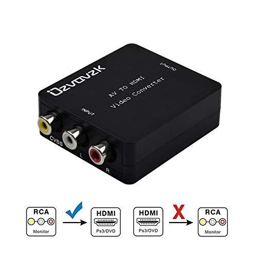 1080P AV zu HDMI Adapter,Ovzavzk 3RCA Composite CVBS AV zu HDMI Video Audio Konverter Adapter Unterstützung von 1080p für TV/PC / PS3 / Blu-Ray DVD
