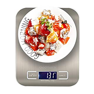 Godmorn Digital Kitchen Scale, Electronic Kitchen Food Scale with g,oz,ml,lb, 4 units, backlit LCD Display, 11lb/5kg, Accurate Gram Slim Design Weighing Scales, Batteries Included