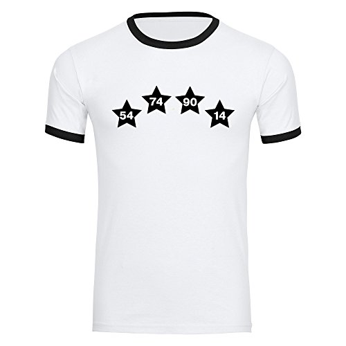 Multifanshop T-Shirt Deutschland mit Vier Sterne mit Jahreszahlen invers auf der Brust Trikot Herren Weiß Gr. S-2XL - Fußball Weltmeister Germany Weltmeisterschaft WM 2018 Russland, Größe:M