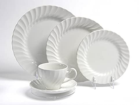 Display Stand : 5 Piece Place Setting Clear Plastic Support : Plates, Cup & Saucer