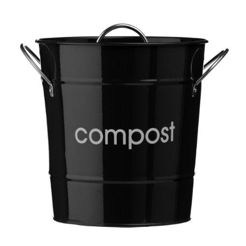 Premier Housewares 0510014 Compostiera, in Acciaio Zincato Nero, Maniglie in Zinco, Secchio di Plastica Interno