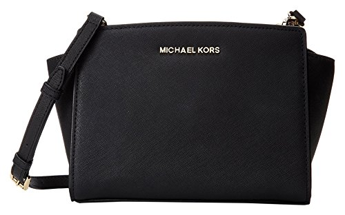 Michael Kors Selma Medium Messenger Bag Bolso bandolera, Mujer, Negro (Black)