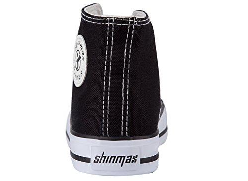 Shinmax New Unisexe Salut-Dessus Chaussure en Toile Toute Saison Lace-Ups Casual pour Basket Toile Femme et Homme Noir