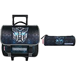 Bagtrotter Cartable A roulettes Transformers 38cm, Trousse Scolaire Noir Incluse