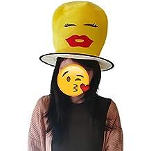 Cisne 2013, S.L. Gorro Sombrero de Fiesta Emoticono Beso Unisex. Gorro Party Emoji para