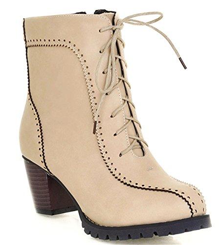 ... YE Damen Retro Elegant Chunky Heels schnürstiefeletten mit 6cm Absatz  Blockabsatz Bequeme Ankle Boots Herbst Winter ...