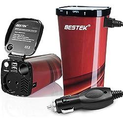 BESTEK 200W Transformateur Convertisseur de Tension DC 12V AC 220V à 240V avec 2 Ports USB et 1 Prise Française Chargeur Allume-Cigare Onduleur pour Voiture Camion - Gobelet Rouge avec Couvercle