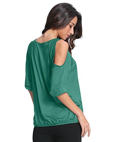 StyleDome Damen Kurzarm VAusschnitt Schulterfrei Lose Shirts Tanktops Grün