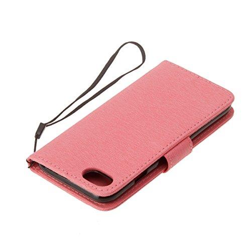 Custodia per iPhone 6 Plus/iPhone 6s Plus (5.5), EUWLY Book Style PU Leather Custodia Case Cover Per iPhone 6 Plus/iPhone 6s Plus (5.5) Portafoglio Custodia Goffratura Ragazza di Farfalla Shell Cove Rosa