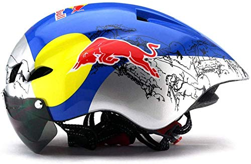 Zghzsc Fahrradhelm Mountainbike Fahrradbrille Mountainbike Helm Helm Luft Radfahren Fahrrad (Color : Red Bull Color, Size : One Size)